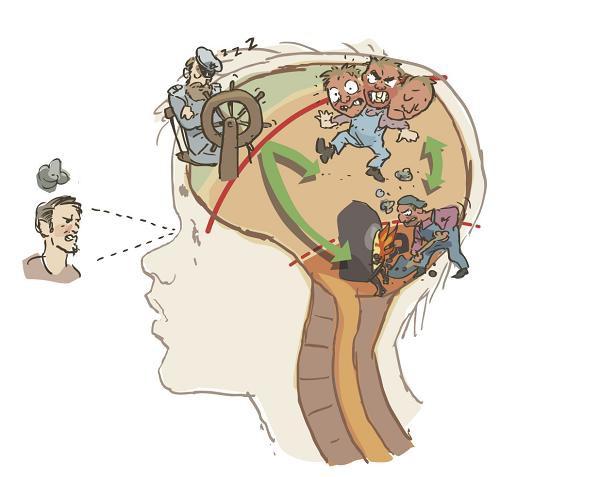Tredelte hjernen stresset - Illustrert av Oscar Jansen