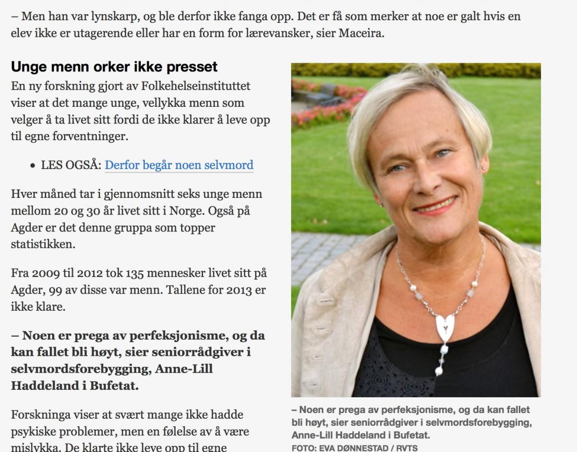 Faksimile fra NRK Sørlandet